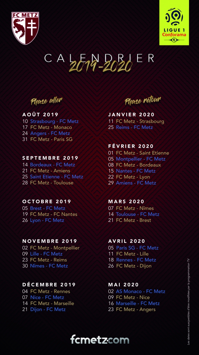 Calendrier Ligue 1 2019 2020.Le Calendrier 2019 2020 Des Grenats Football Club De