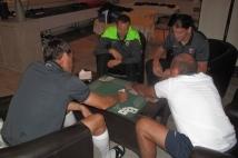 Stage de préparation Jour 5  : Kévin Lejeune, Guido Milan, André Marie et Sylvain Marchal en pleine partie de cartes