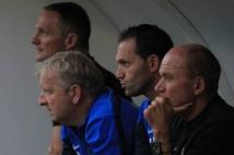 Sochaux - Metz, match amical  : Le staff grenat : André Marie, Christophe Marichez, José Jeunechamps et Albert Cartier